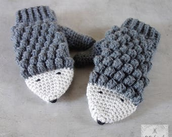 Crochet Hedgehog mittens for women