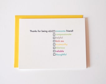 Friend Thank You Card - Fill in the Blank - Thank You Card