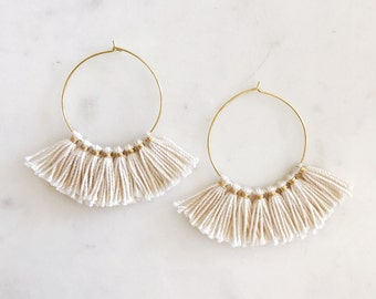 Tassel Hoop Earrings, Fringe Earrings, White