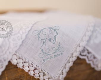 Bridal Handkerchief | Bouquet Wrap--Scroll Design with Bride and Groom's Initials & Wedding Date