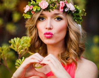 Pink flower crown headband, Flower headband, headband, wedding flower crown, bridal flower crown, bohemian flower crown