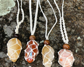 Fire Element Necklaces - Citrine, Carnelian Flame or Sunstone