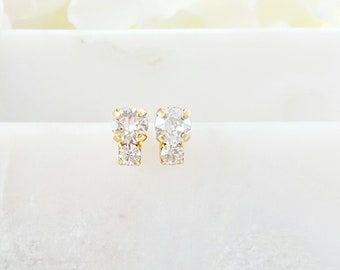 Clear Crystal Earrings - Tiny Diamond Studs Gold - Swarovski Crystal Jewelry - Small Diamond Earrings - White Crystal Earrings for Her E3464