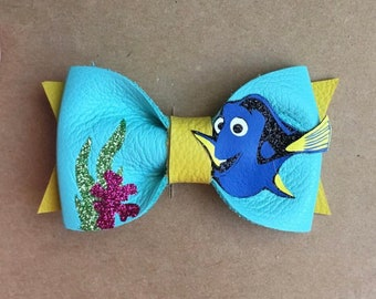 Dory Bow, finding dory, disney bow, birthday bow, blue baby bow, kids hair accessories, disney bow,