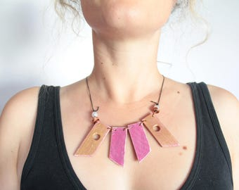 Pink & Gold Statement Necklace, Up-cycled Wood, Copper, Distressed Look, Boho, Hippie, Festival, Shabby Chic, Alternative Mother's Day Gift