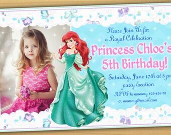 Princess Ariel Birthday Invitation Princess Ariel Invite