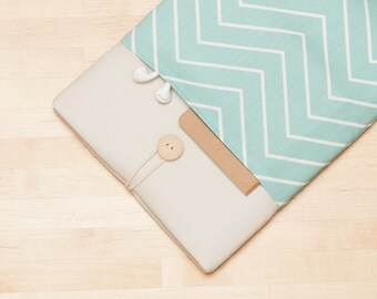 Macbook sleeve 15 inch case,  Macbook Pro 15 inch sleeve, 15 inch macbook cover, macbook 15 sleeve - chevron cream