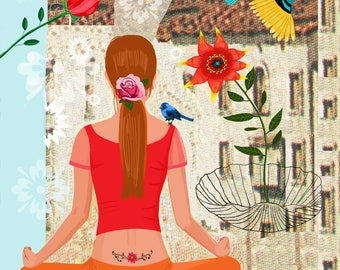Woman doing Yoga, Meditation Art,  Woman Yogi Art, Yoga Illustration, Meditation Poster, Yoga Wall Art, Yoga Print, Practicing Yoga,