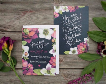 Hellebore Chalkboard Wedding Stationery - DEPOSIT- Floral Watercolour Wedding Invitations - Artwork by Alicia's Infinity