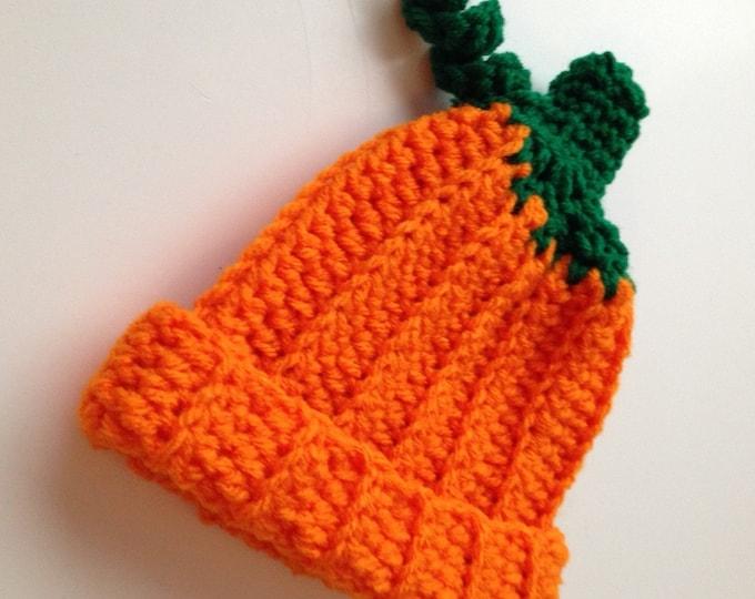 Pumpkin Hat - Photo Prop - Baby Pumpkin Hat - Halloween - Fall - Autumn Hat - Baby to Adult Sizing - Handmade Crochet - Made to Order