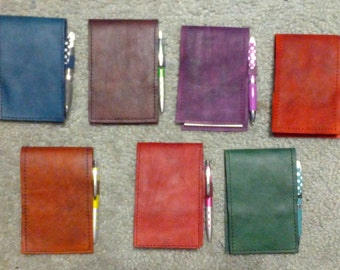 Leather pocket notebook - flip style
