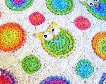 Crochet Blanket PATTERN - Owl Obsession - crochet pattern owl blanket, afghan pattern, crochet baby blanket pattern - Instant PDF Download