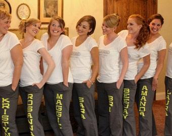 Personalized Ladies' Yoga Style Sweatpants -  Wedding - Bridal - Gift - Bachelorette