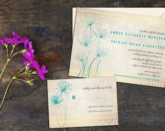 Papyrus Wedding Invitation Set, Simple Elegant Floral Invitations, Wedding response cards, Thank you cards, Save the Dates, DIY Digital File
