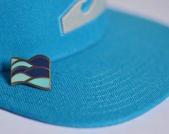 Waves Enamel Pin   Water Pin   Ocean Enamel Pin   Blue Enamel