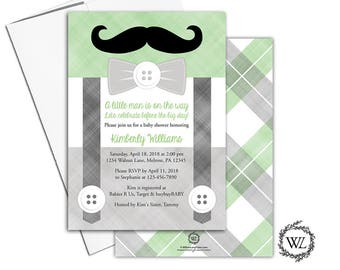 Mustache Baby Shower Invitation Printable or Printed, Boy Baby Shower Invites, Green and Gray - WLP00771