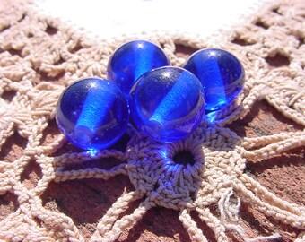Sapphire Blue Vintage Japanese Lampwork Glass Beads