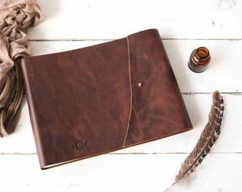 Rugged Leather Book, Custom Leather Craft Book w/ Rivet Closure