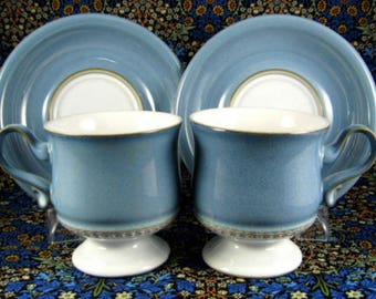 Denby Castile Blue Denim Cups and Saucers England Stoneware 1970s Retro Teacups Mid Century Dining