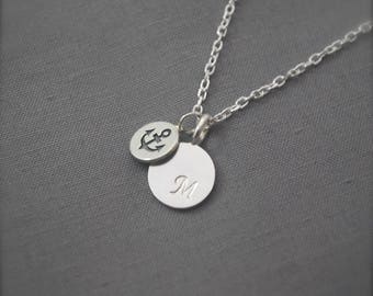 Monogram Necklace Silver monogram necklace with anchor choose any initial made with 925 Sterling silver, solid and sturdy necklace Handmade