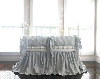 Crib Bedding - Grey Crib Bedding - Crib Bedding Grey - Neutral Crib Bedding - Baby Girl Bedding - Baby Boy Bedding - Grey Baby Bedding Set
