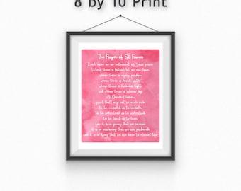Saint Francis Prayer Print//Catholic Prayer//Prayer Card//Peace Print//8x10//5x7//Free gift wrapping