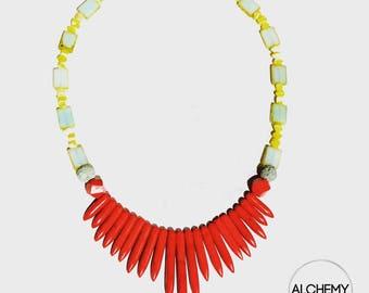 Aromatherapy Red Howlite Spikes & Czech Glass Diffuser Necklace