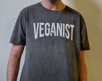 Vegan graphic slogan t-shirt 'Veganist' stone wash GREY