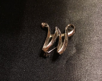 W or M Silver Brooch by Sarah Coventry