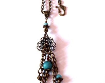 Necklace Bohemian bronze color, aqua amazonite