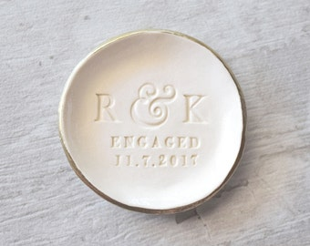 ENGAGEMENT RING DISH Personalize ring dish Monogram ring dish Engaged Ring Tray Initial ring dish Engagement Ring Holder Custom Pottery Bowl