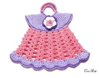 Dark Pink and Purple crochet dress potholder, presina vestitino rosa e lilla all'uncinetto
