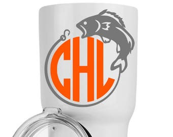 Yeti Decals for Men - Gift for Fisherman - Fish Decal - Monogram Cup Decal - Decals for Men - Rtic Cup Decal - Yeti Sticker for Men