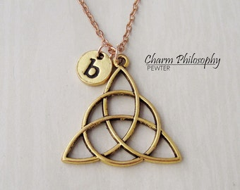Gold Celtic Triquetra Knot Necklace - Celtic Jewelry - Personalized Monogram Initial Necklace