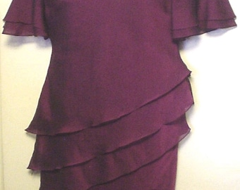 Vintage 80s Virgo Maroon Tiered Ruffle Dress Sz 12 L Chiffon Overlay Tier Formal Special Occasion Classic Style Party Dress Polyester EC BIN