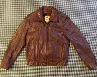 1980's, plush lined, leather jacket, in cognac, Men's size 38