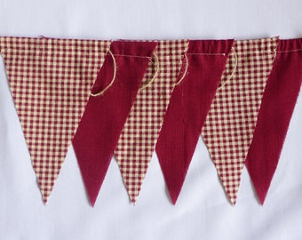 Farmhouse Paid Bunting Banner- Fabric Banner- Red Bunting Banner- Wall decor