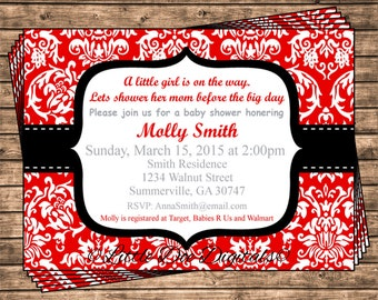 Personalized Red and Black Damask Baby Shower Invitations - Printable Digital File