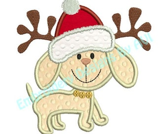 Applique Christmas Puppy Dog Reindeer Machine Embroidery Designs 4x4 & 5x7 Instant Download Sale