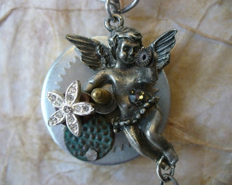 Steampunk Necklace - Cupid in Blue With Steampunk Facets