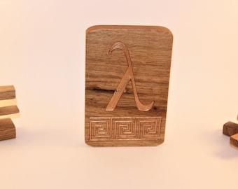 Greek Letter Lambda curved on oak wood - Home Decor - Art Wood
