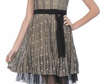 Cap Sleeve Dress, Babydoll, Dresses, Lace, Black, Overlay, Tulled Bottom, For Women, For Girls, Areve Dress, Size Medium, Vintage Inspired