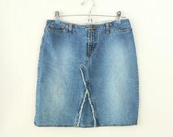 Women 6 Short High Waist Jean Skirt