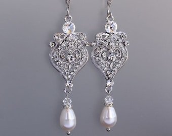 Chandelier Bridal Earrings, Crystal Drop Earrings, Crystal Chandelier Earrings, Pearl Drop Earrings, Bridal Jewelry, LUCY2
