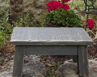 "Reclaimed wood riser, gray, rustic, farmhouse, step stool 8"" - 10"" H"