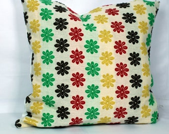 Floral pillow case 20x20 multi color throw pillows cover 18x18 green pillow 24 x24 red pillow covers floral pillowcase yellow throw pillow