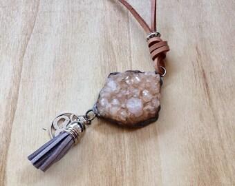 Citrine Necklace, Citrine Pendant,Tiffany method,Crystal Jewelry,Untreated Citrine crystal, Leather,Raw Citrine Pendant,Raw Citrine Necklace