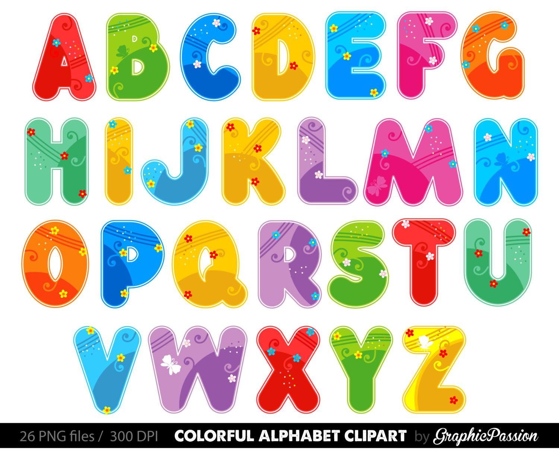 alphabet clipart color alphabet digital alphabet letters color rh etsy com alphabet letters clipart clipart alphabet letters