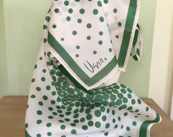 Vintage Vera Mod Polka Dot Scarf Vibrant Green and White 100% Acetate Made in Japan Seventies Chic Vintage Scarf Vintage Accessories