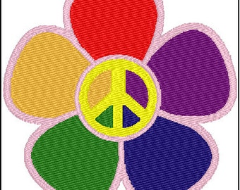 Peace Flower Sign Symbol Embroidery Design